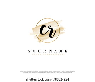 C R Initial water color logo template vector