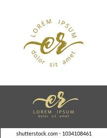 C R. Initials Monogram Logo Design. Dry Brush Calligraphy Artwork