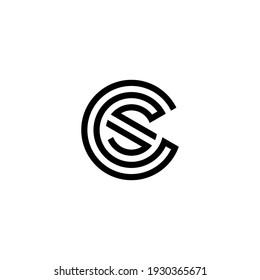 c s cs sc initial logo design vector template