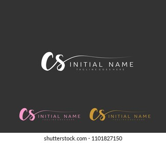 C S Initial handwriting logo vector. Hand lettering for designs.