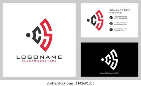 C S initial logo template vector