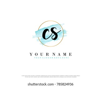 C S Initial water color logo template vector