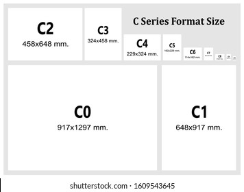 C series format size chart vector. (scale 1:2) ISO 269 international standard paper size.