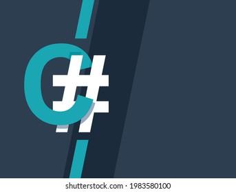 C Sharp programming component-oriented language and disciplines. Vector illustration