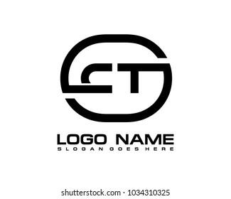 C T Initial circle logo template vector
