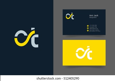 C & T Letter logo design template with business card template