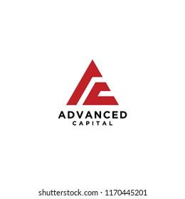 A and C triangle logo vector, Financial logo vector