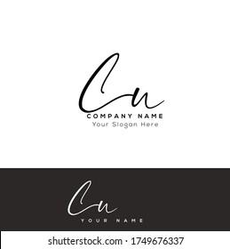 C U CU Initial letter handwriting and signature logo.