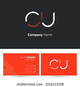C & U joint logo letter design with business card template