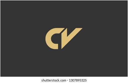 C, V, C V, V C Letter Creative Minimal Abstract Unique Luxury Style Premium Graphic Alphabet Icon Vector Logo Design Template Element in Golden color with Gray background.