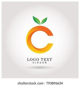 C Vitamin & Orange Logo. Symbol & Icon Vector Template.