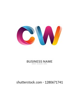 C W CW Logo Letter Design Vector colorful glossy color. Design Template