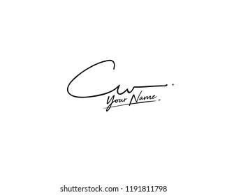 C W CW Signature initial logo template vector