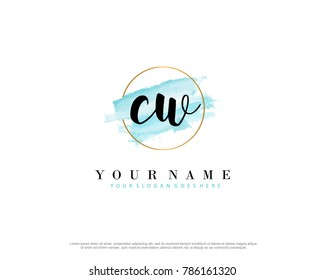 C W Initial water color logo template vector