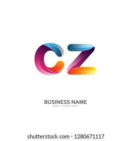 C Z CZ Logo Letter Design Vector colorful glossy color. Design Template