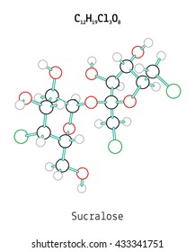 C12H19Cl3O8 Sucralose molecule