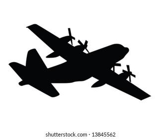 C130 Coast Guard Plane Vector Illustration