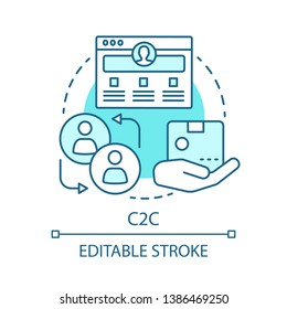 C2C concept icon. Commercial relationship idea thin line illustration. E commerce. Web portal with purchase advertisement. Sale between consumers. Vector isolated outline drawing. Editable stroke