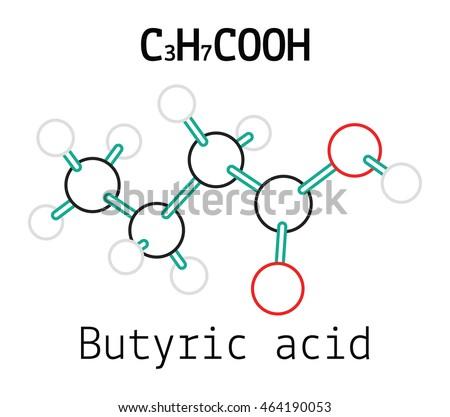 C3H7COOH Butyric Acid Molecule