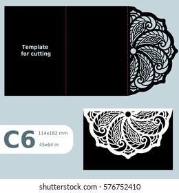 C6 paper openwork greeting card wedding invitation, template for cutting, lace invitation card with fold lines, object isolated background, laser cut template vector illustration