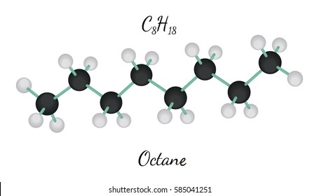 C8H18 octane 3d molecule isolated on white
