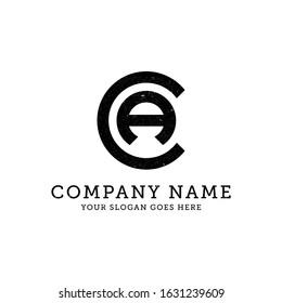 CA business logo template, letter CA vector illustration