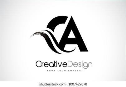 CA C A Creative Modern Black Letters Logo Design with Brush Swoosh