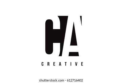 CA C A White Letter Logo Design with Black Square Vector Illustration Template.