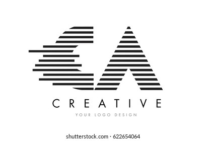 CA C A Zebra Letter Logo Design with Black and White Stripes Vector