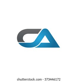 CA company linked letter logo black blue