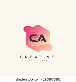 CA Initial Letter logo icon design template elements with wave colorful art.