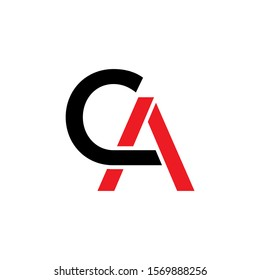 CA Initial logo Capital Letters Black and Red colors 002