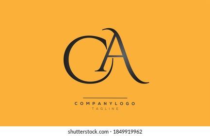 CA initials monogram  text alphabet logo design