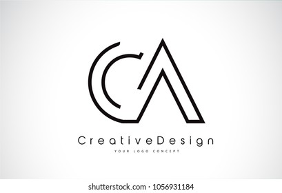 CA Letter Logo Design in Black Colors. Creative Modern Letters Vector Icon Logo Illustration.