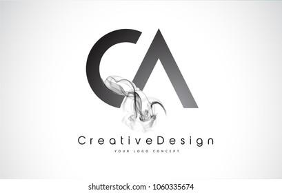CA Letter Logo Design with Black Smoke. Creative Modern Smoke Letters Vector Icon Logo Illustration.