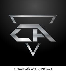 CA Logo, Monogram, Metal