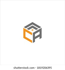CA real estate Unique modern flat abstract logo design with orange and gray color.