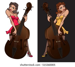 Cabaret girl mascot. Vintage poster of pinup girl playing on contra bass.