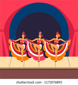 Cabaret girls dancing cancan on stage. Vector
