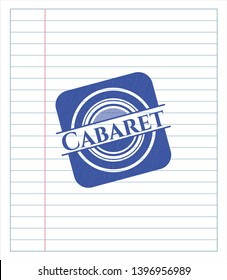 Cabaret with pen strokes. Blue ink. Vector Illustration. Detailed.
