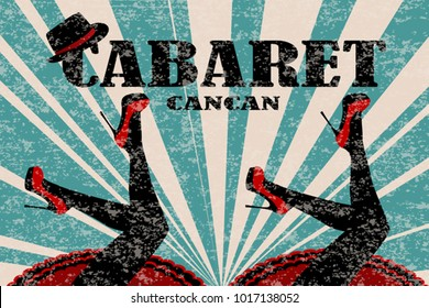 Cabaret poster with women legs in red shoes