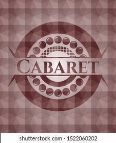 Cabaret red emblem or badge with geometric pattern background. Seamless.