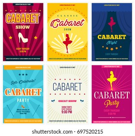 Cabaret retro posters set, vector illustration. Flyers and ads for show promotion in vintage style