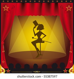 cabaret. A women giving performance on a stage.Illustration created with gradient meshes in the curtains.