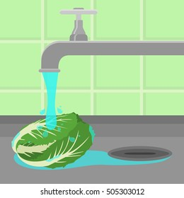 Cabbage being cleaned and washed in a sink in a kitchen. Running tap water.