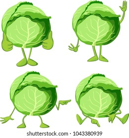 Cabbage cartoon with  legs and hand gesture - vector illustration