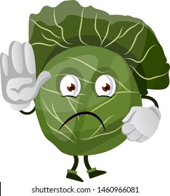 Cabbage is holding palm of hand in front of him, illustration, vector on white background.