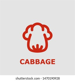 Cabbage symbol. Outline cabbage icon. Cabbage vector illustration for graphic art.