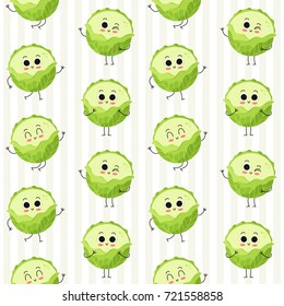 Cabbage, vector seamless pattern with cute vegetable characters on stripy background
