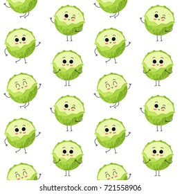 Cabbage, vector seamless pattern with cute vegetable characters isolated on white